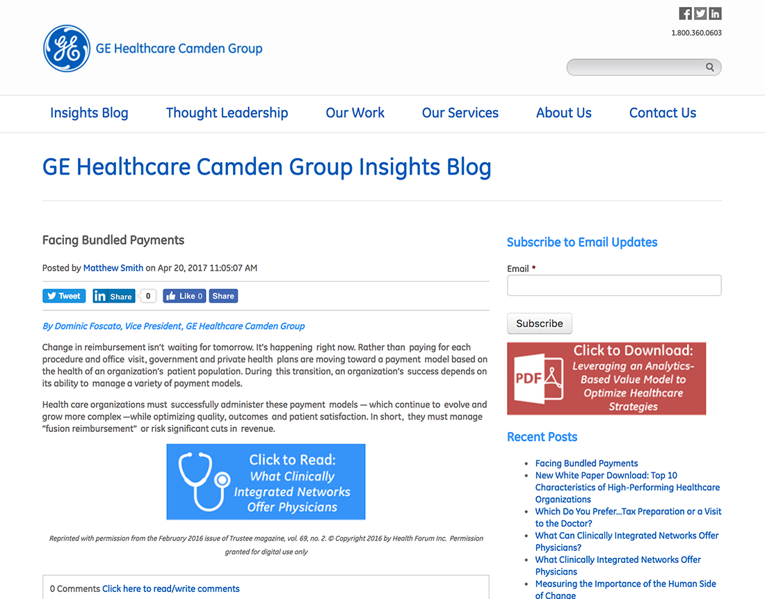GE Healthcare Partners - Website Design Case Study & Strategy by
