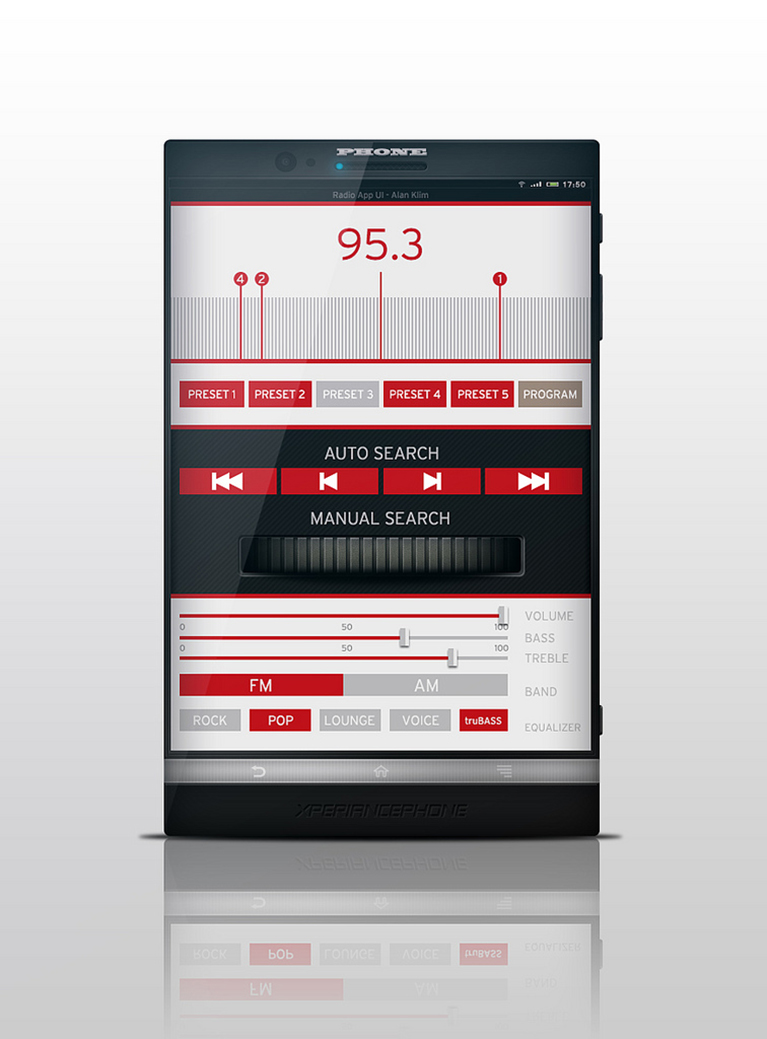 A mobile app with flat design. Courtesy Alan Klim / Radio App UI