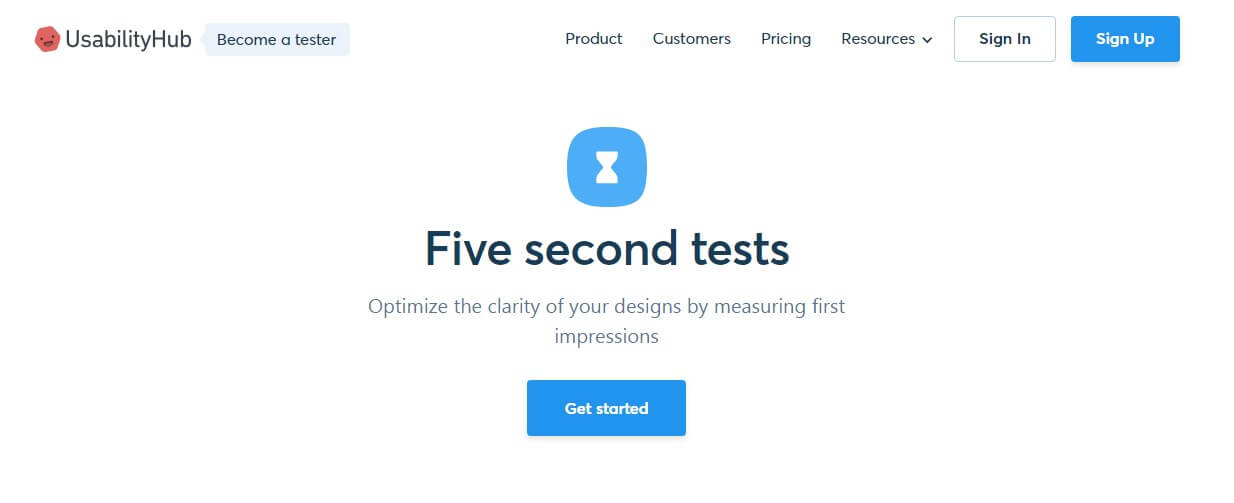 Five-Second-Tests Landing Page
