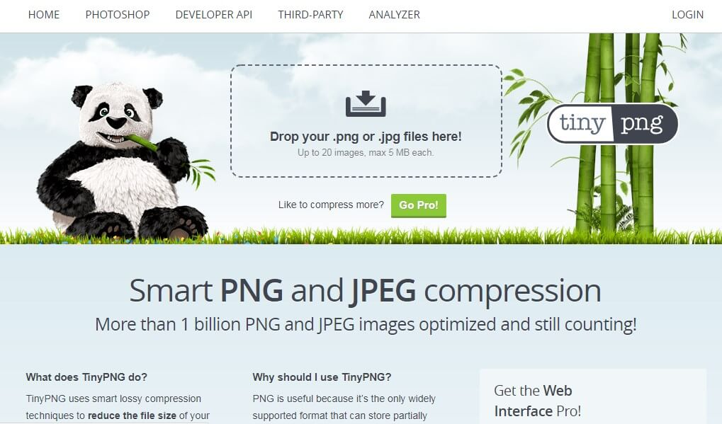 Tiny PNG Landing page