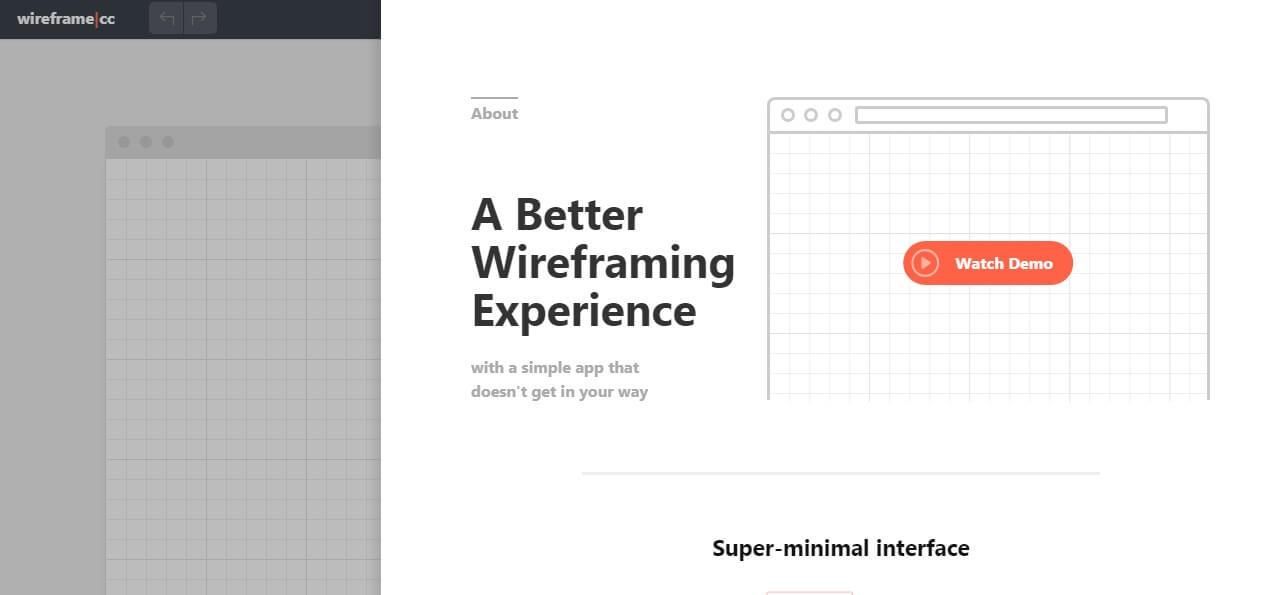 Wirefram.cc landing page