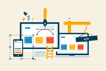 Building/Designing a website or application. Flat style vector