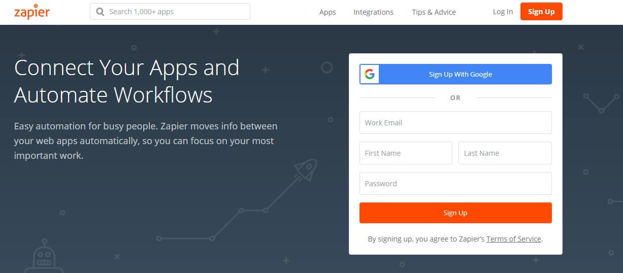 Zapier landing page example