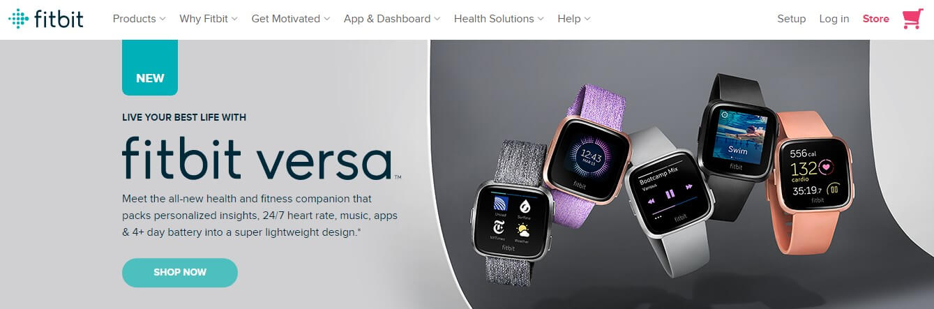 Fitbit Versa lading Page Example