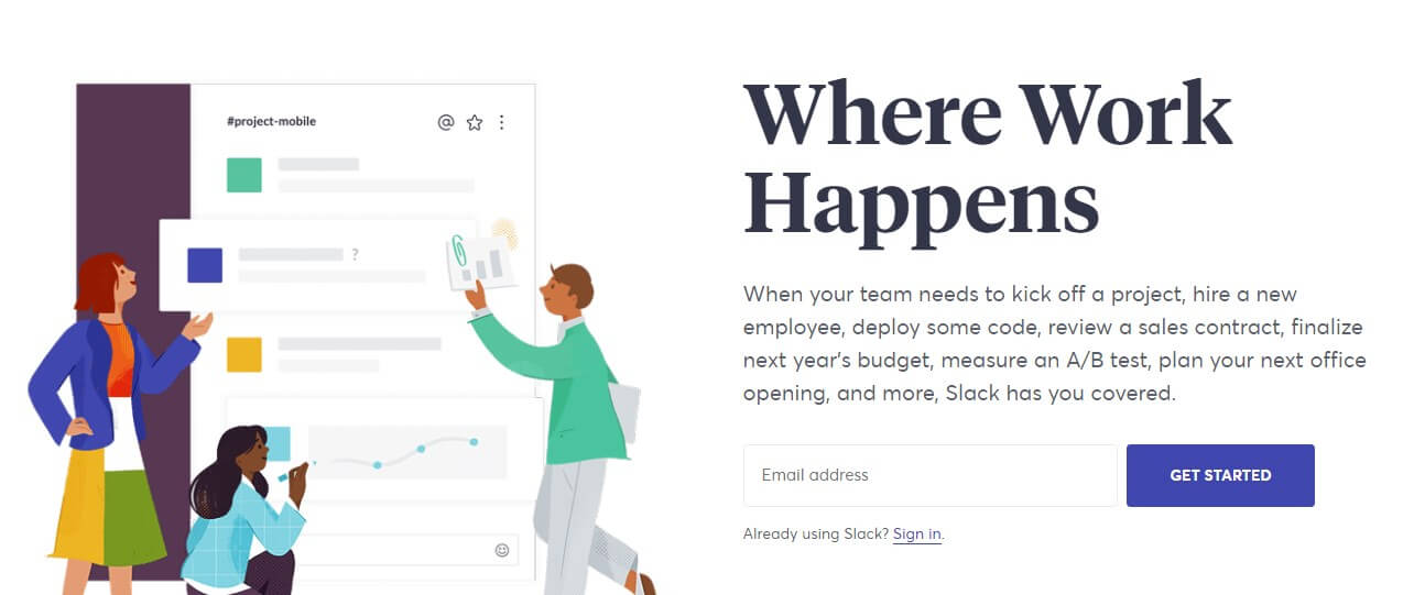 Slack landing page example