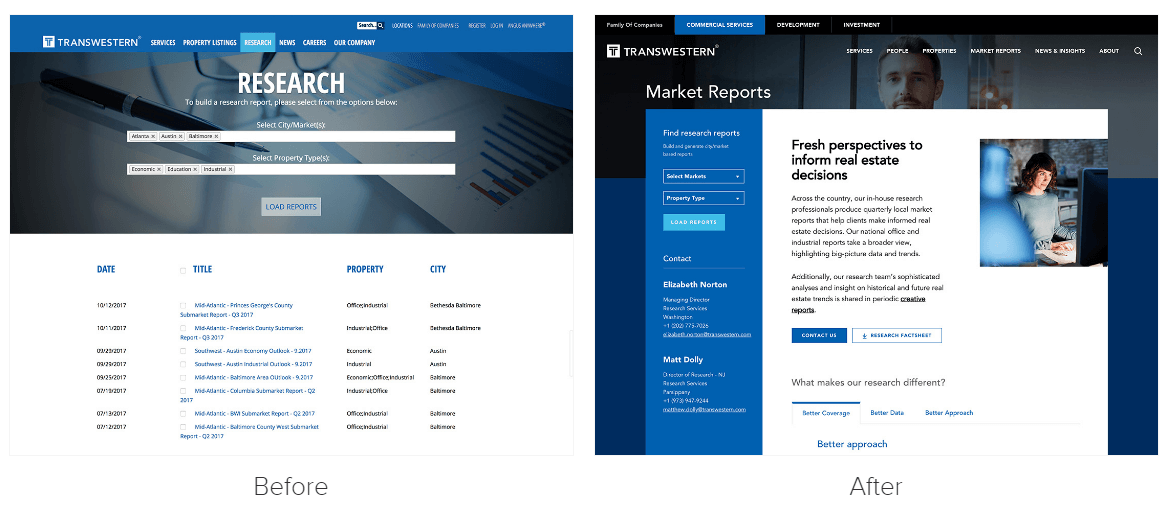 Transwestern web redesign example