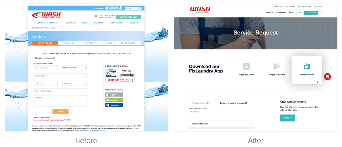 Wash website redesign example