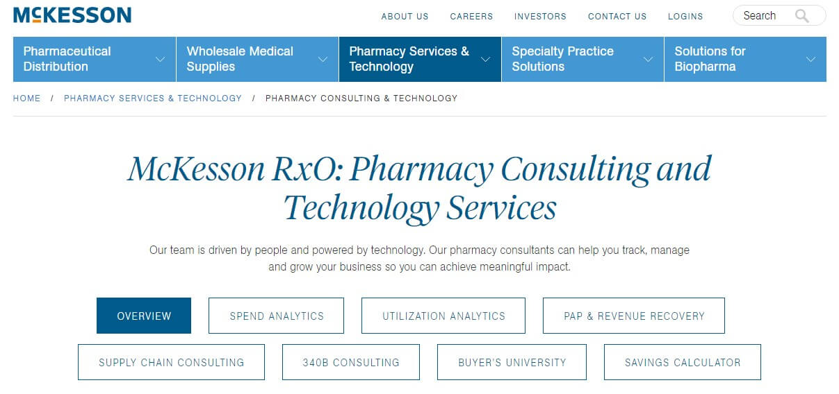 mckesson website example page