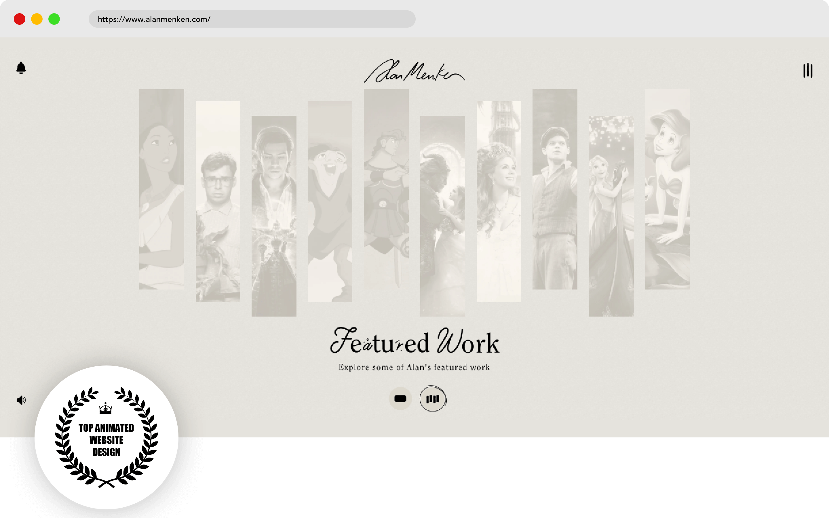 Alan Menken Website Design
